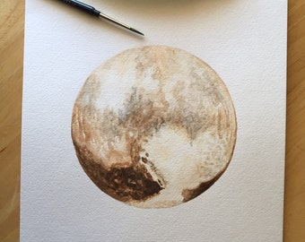 Pluto - 9x12 Watercolor Painting on Paper - Pluto Art - STEAM - Original Painting - SciArt - AstroArt - Planetary Science - New Horizons