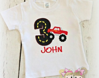 Monster truck birthday shirt - red monster truck birthday shirt - boys embroidered birthday shirt - embroidered monster truck shirt