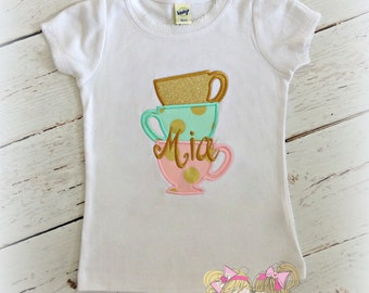 Tea Party Applique Shirt- Stacked Tea Cups in Mint, Pink, and Gold
