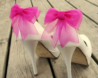 Shoe Clips, Wedding Shoe Clips, Bridal Shoe Clips, Organza Shoe Clips, Bridal Accessories,Fuchia Shoe CLips, Shoe Clips Only