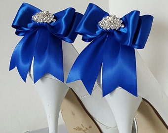 Royal Blue   Wedding Shoe Clips,Bridal Shoe Clips,  MANY COLORS, Satin Bow Shoe Clips, Bridesmaids, Clips for Wedding Shoes, Bridal Shoes