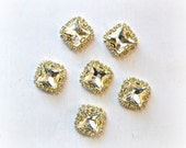 Square Rhinestone Buttons. 18 x 18 mm Clear Rhinestone Buttons. 1 Button. C4-RBU-001