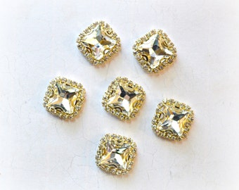 Square Rhinestone Buttons. 18 x 18 mm Clear Rhinestone Buttons. 1 Button.