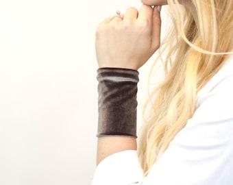 Velvet Cuff Bracelet, Wrist Stretch Cuffs, Silver Grey Gray Jersey Tattoo Cover Up Wrist Covers, Fall Arm Wristband Band, Fabric Armband