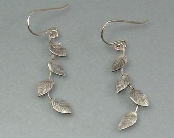 Leaf and vine earrings - long sterling silver vine earrings - artisan woodland earrings - nature inspired elven earrings -botanical earrings