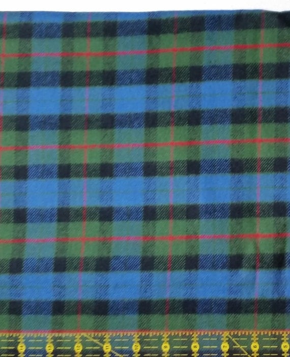 Cotton flannel fabric plaid flannel by the yard blue for Blue and green tartan shirt
