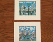 Two Prints by London Artist Andrew Murray  Palace of Westminster and Tower Bridge  / Folk Art