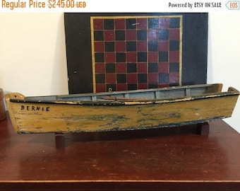 SUMMER SALE Antique Folk Art Row Boat...Primitive Boat Rustic Nautical Lake Pond River Ocean Sailor Boater Fishing Sailboat Hand Crafted Woo