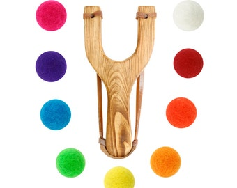 Wooden Slingshot with 12 Multicolored Felt Ball Ammo - hunting slingshot, wooden slingshot, best slingshot, toy slingshot, wooden toy