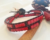 Double wrap bracelet, red marble stone, black coconout shell beads, leather