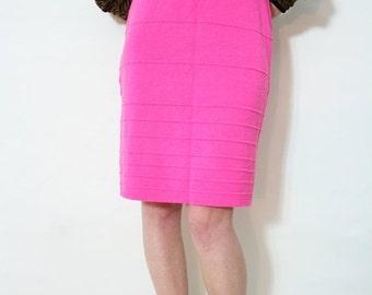 ON SALE Vintage 80s Hot Pink High Waist Sweater Knit Bandage Skirt