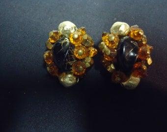 Vintage Signed Jonne Beaded Cluster Earrings