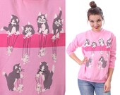CAT Sweatshirt Pink 80s White Mouse Grey KITTEN Candy Shirt 90s Animal Retro Screen Print Vintage Slouchy Bubblegum Pink Graphic Medium