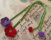 Set of Two Crochet Flower Bookmarks. Lilac and Red Crochet Flower Bookmark.
