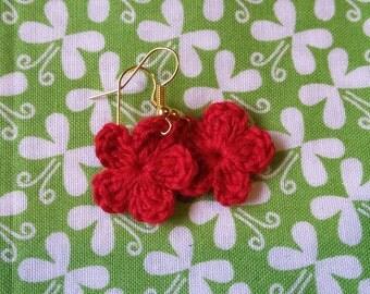 Red Crochet  Flower Earrings.  Handmade Crochet Flower Earrings.