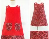 Girls Red Dress, Girls Jumper, Girl's Reversible Dress, A line Pinafore, Christmas Dress, Xmas, Girls Clothing, Children's Clothing, Toddler