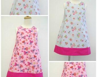 Girls Reversible Dress, Girls Pinafore, Girls Dress A line Pinny, Summer Dress, Sleeveless Dress, Kids Clothing, Jumper, Toddler, Floral