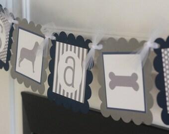 "Dog Doggy Puppy Grey White & Navy Blue ""It's a Boy"" Boy Baby Shower Polka Dot Stripe Banner - Free Ship Over 65.00"