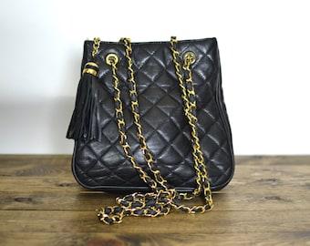 Vintage Quilted Leather Large Tote Bag - Chain Strap Handbag