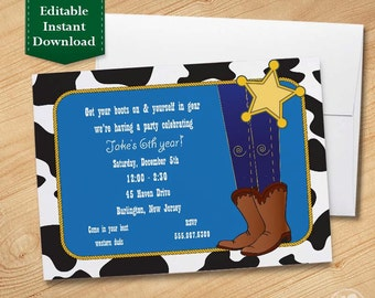 Cowboy - Kids Birthday Invitations Template, Birthday Invitations for Kids,  Birthday Party Invitations for Kids