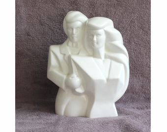 80's glossy white ceramic Man and Woman figurine, ornament. Bridal couple