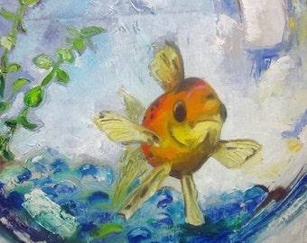 "Woohoo Weekend Sale Original bathroom Goldfish painting on canvas fish painting 12""x12""Mr Handsome"