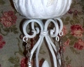 Altered Pumpkin, Chenille Pumpkin, Fall Decor , Shabby chic Deor, Pumpking, Candle Holder, Iron candle holder, painted white