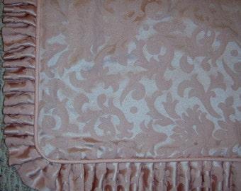 Vintage, Brocade Pillow Sham, Standard Sham, Pink Sham, Shabby Chic, Linens, Jacquard, Pleated Ruffle