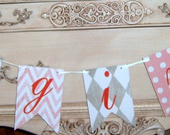 Upcycled, Baby Girl Shower, It's A Girl, Banner, Shower Supplies, Baby Girl Banner