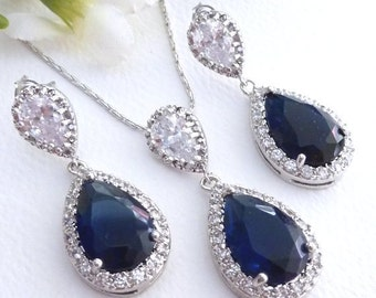 Wedding Bridal Jewelry SET - Halo Sapphier Blue Peardrop Cubic Zirconia with White Gold Plated CZ Post Earring and Necklace