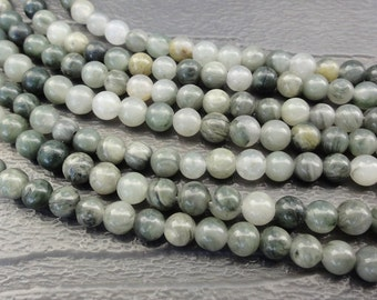 4mm Green Line Jasper Beads Round Smooth Full Strand 16 inch