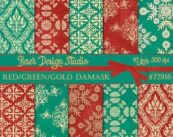 Digital Paper Christmas, Digital Paper Vintage, Red and Gold Damask Digital Paper, Green and Gold Damask Digital Paper, #72916