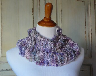 Chunky Knit Scarf Knit Cowl Chunky Knit Infinity Scarf Lavendar Grey Gift for Her