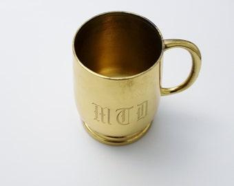 Vintage Brass Mug - Golden Mug Award 31 Years of Service - Brass Desk Accessory Organizer