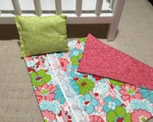 """Flower Boldness 18"""" Doll Quilt with Pillow"""