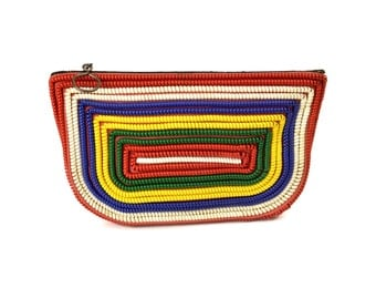 Vintage Telephone Cord Clutch Purse // 1940's Multi-Color Coil Handbag // Retro Red, White, Blue, Yellow, & Green Pouch Bag