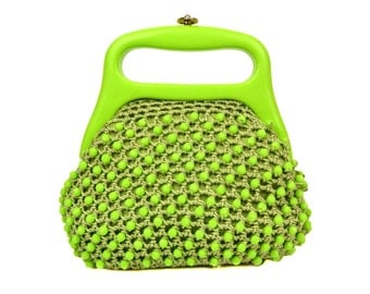 Vintage Delill Lime Green Lucite Beaded Crocheted Handbag // Hand Made in Italy