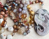Earth Tone Knotted Necklace, Inspired Bohemian Hand Beaded Necklace, Hand Tied Semi precious stones, Long Fairy Necklace by Inarajewels