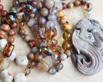 Earth Color Knotted Necklace, Inspired Bohemian Hand Beaded Necklace, Hand Tied Semi precious stones, Long Fairy Necklace by Inarajewels