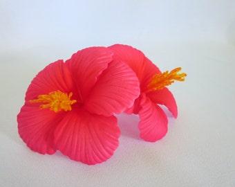 Hibiscus Hair Flower, Hair Piece, Head Piece, Double Flower, Hair Clip, Pink