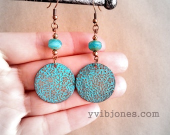 SALE Turquoise Copper Patina Boho Chic Gypsy Floral Disc Rustic Earrings hypoallergenic ear wires Vintage Inspired Jewelry Christmas in July