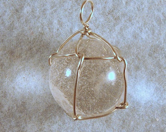 Clear Quartz Wire Wrapped Crystal Ball Pendant