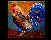 Original Oil Painting Rooster Palette Knife Painting on Gallery Canvas 20x20 inches