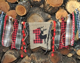 Lumberjack Woodland Deer party, first 1st birthday highchair rag banner, black and red buffalo plaid flannel & burlap decor/camp/photo prop
