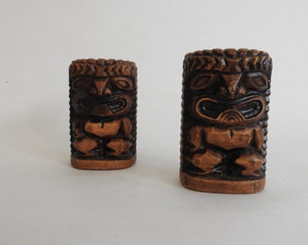 Carved Tiki Style Salt and Pepper Shakers