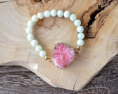 Pink Druzy Dipped in Gold and Mint Green Bracelet