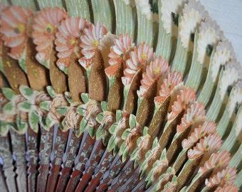 Antique Die Cut Pink Paper Fan/Vintage c. 1900/Victorian Flower Fan