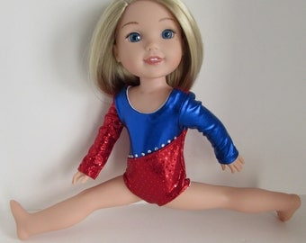 Doll Clothes Red and Blue Gymnastics Uniform for 14.5 Dolls Fits WellieWishers™