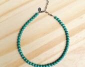 Wander Choker, Glass Bead, OOAK, Boho Chic, Gypsy, Bohemian, Simple Jewelry, Boho Choker, Beaded Necklace, Beaded Choker, Turquoise Beads