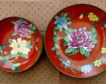 Vintage Brass Clad Porcelain Bowls | Chrysanthemum Pattern | Made in China